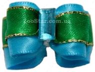 Бантик на резинке голубой с зеленым 2 см