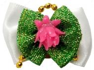 Бантик на резинке бело-зеленый с розовым лотосом 3,5 см