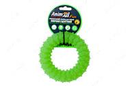 Светоотражающая игрушка для собак жевательное кольцо с шипами зеленое AnimAll Fun