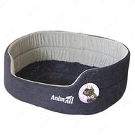 Лежак для собак и котов сине-серый AnimAll Alice Velvet 1