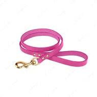 Поводок для собак кожаный розовый PREMIUM BRONZEDOG