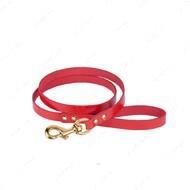 Поводок для собак кожаный красный PREMIUM BRONZEDOG