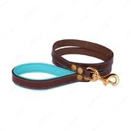 Поводок для собак кожаный коричнево-голубой PREMIUM BRONZEDOG