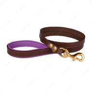 Поводок для собак кожаный коричнево-фиолетовый PREMIUM BRONZEDOG