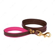 Поводок для собак кожаный коричнево-розовый PREMIUM BRONZEDOG