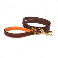 Поводок для собак кожаный коричнево-оранжевый PREMIUM BRONZEDOG