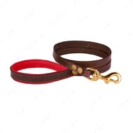 Поводок для собак кожаный коричнево-красный PREMIUM BRONZEDOG