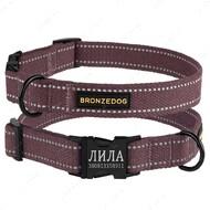 Ошейник светоотражающий для собак черри COTTON BRONZEDOG