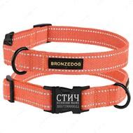 Ошейник светоотражающий для собак оранжевый COTTON BRONZEDOG