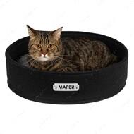Лежанка круглая для кошек и собак черная BRONZEDOG