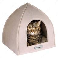 Домик для кошек и собак палатка бежевый BRONZEDOG