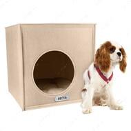 Домик для кошек и собак кубик бежевый BRONZEDOG
