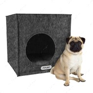 Домик для кошек и собак кубик серый BRONZEDOG