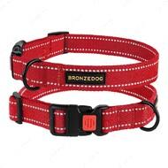 Светоотражающий ошейник для собак красный BRONZEDOG СOTTON