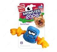 Игрушка для собак монстр с пищалкой и резиновой веревкой голубой BRONZEDOG GIGWI