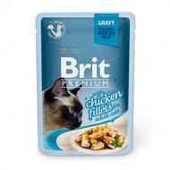 Влажный корм для котов кусочки из куриного филе в соусе Brit Premium Cat Pouch with Chicken Fillets in Gravy for Adult Cats