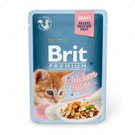 Влажный корм с куриным филе в соусе для котят Brit Premium Cat Pouch with Chicken Fillets in Gravy for Kitten