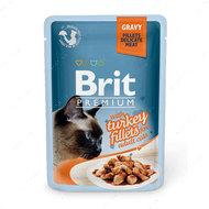 Влажный корм кусочки из филе индейки в соусе Brit Premium Cat Pouch with Turkey Fillets in Gravy for Adult Cats