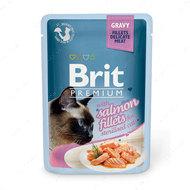 Влажный корм кусочки из филе лосося в соусе для стерилизованных кошек  Brit Premium Cat Pouch with Salmon Fillets in Gravy for Sterilised Cats