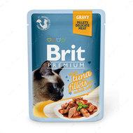 Влажный корм кусочки из филе тунца в соусе Brit Premium Cat Pouch with Tuna Fillets in Gravy for Adult Cats