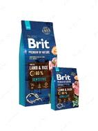 Корм для собак всех пород с чувствительным пищеварением с ягненком Brit Premium by Nature Sensitive Lamb