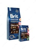 Корм для собак всех пород с лишним весом с индейкой и овсом Brit Premium by Nature Light