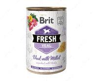 Влажный корм для собак с телятиной и пшеном Brit Fresh Veal with Millet