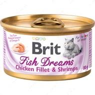 Влажный корм для кошек куриное филе и креветки Brit Fish Dreams Chicken fillet & Shrimps