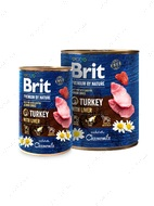 Мясной паштет с индейкой и печенью для собак и щенков Brit Premium by Nature Turkey with Liver