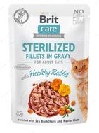 Консервы для кастрированных котов и стерилизованных кошек с кроликом Brit Care Fillets in Gravy Sterilized Healthy Rabbit
