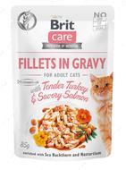 Консервы для котов с индейкой и лососем Brit Care Fillets in Gravy Tender Turkey & Savory Salmon