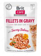 Консервы для взрослых котов с лососем Brit Care Fillets in Gravy Savory Salmon