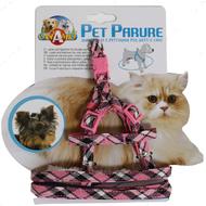 Набор шлея и поводок для кошек и собак SCOTTISH PINK CROCI