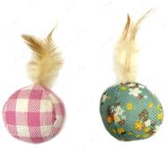 Игрушка для кота мяч с пером и кошачьей мятой CROCI