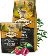 Сухой корм для взрослых собак крупных пород с лососем и индейкой  Carnilove ADULT LARGE BREED Salmon&Turkey