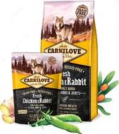 Сухой корм для взрослых собак всех пород с свежим мясом курицы и кролика Carnilove Fresh Chicken & Rabbit