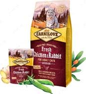 Сухой корм для взрослых кошек и котов со свежим мясом курицы и кролика Carnilove Fresh Chicken & Rabbit