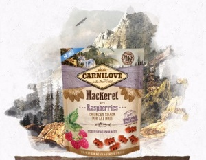 Лакомство для собак скумбрия и малина Carnilove Dog Crunchy Mackerel with Raspberries