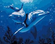 """Алмазная мозаика """"Пара дельфинов"""", полная выкладка"""