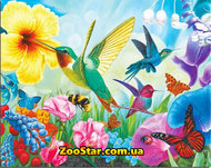 """Алмазная мозаика """"Райские птицы"""", полная выкладка"""