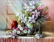 """Алмазная мозаика """"Натюрморт с лилиями"""", полная выкладка"""