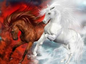 """Алмазная мозаика """"Мифические кони"""", полная выкладка"""