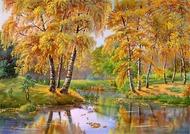 """Алмазная мозаика """"Золотая осень"""", полная выкладка"""