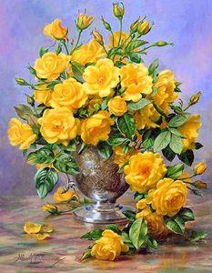 """Алмазная мозаика """"Букет желтых роз"""", полная выкладка"""