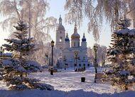 Алмазная мозаика без рамки Dreamtoys Церковь в снегу