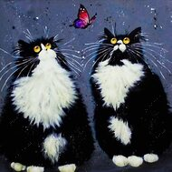Алмазная мозаика без рамки Dreamtoys Черно-белые коты