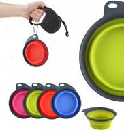 Дорожная складная миска с карабином для собак и кошек синяя Collapsible/ Expandable Travel Cup™