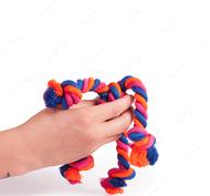 Эко-игрушка в виде яркого каната с 4-мя узлами на 4-х концах
