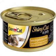 """Консервы для кошек с тунцом, креветками и солодом """"ShinyCat Tuna with shrimps and Malt in jelly"""""""