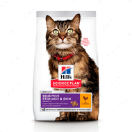 Сухой корм для взрослых кошек с чувствительным пищеварением и кожей с курицей Hill's Science Plan Sensitive Stomach & Skin